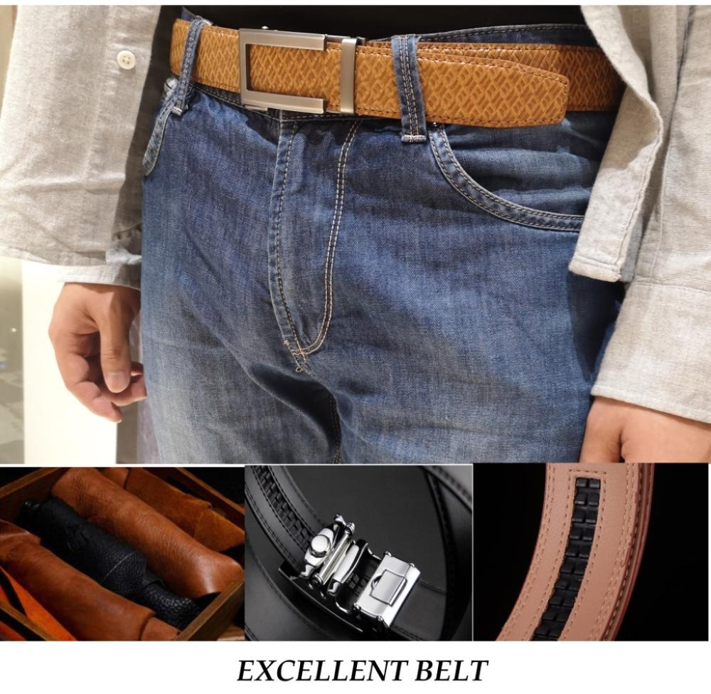 New Designer Popular Luxury Brand Cowhide Leather Belt Men Black Brown Automatic Buckle Business Casual Belts For Men 3 5 Width in Men 39 s Belts from Apparel Accessories
