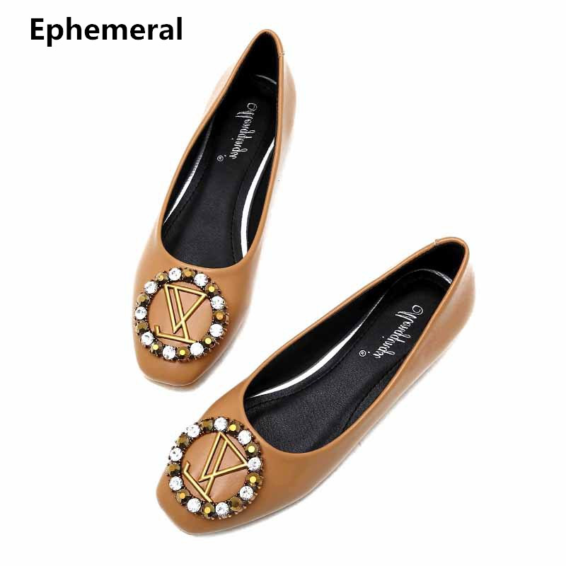 843bb056c825 Women Plus size Flats 34 43 with Rhinestone Square Toe Slip ons Comfortable  Heels Black Beige Yellow Brand Shoes Spring Autumn -in Women's Flats from  ...