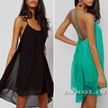 Sexy Women Ladies Backless Strap Summer Beach Chiffon Cocktail Party One Piece Dress Black Green Pink S M L Free Shipping 1091