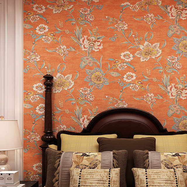 Country Vintage Orange Flower Wallpaper Self Adhesive Large Floral Wallpapers Sticker Roll Paper Wall Papers