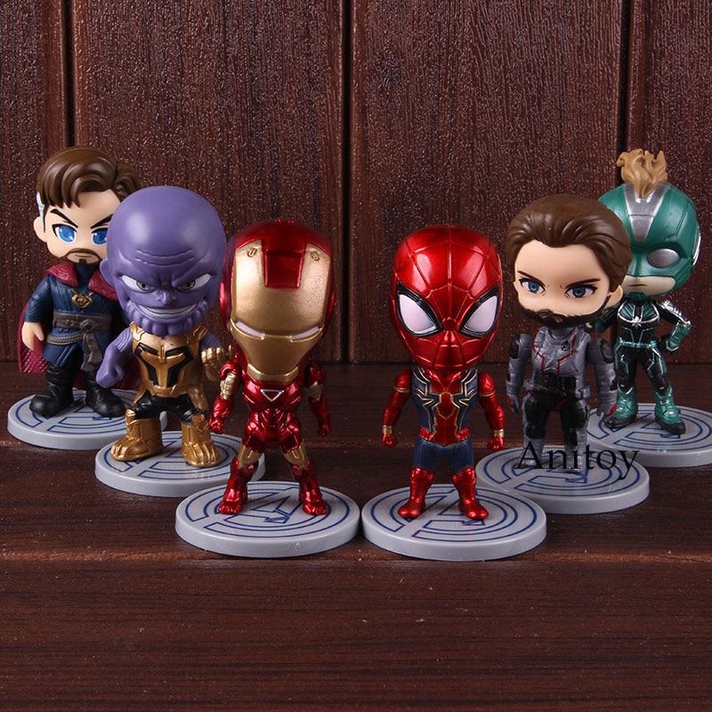 Avengers Endgame Figure Thanos Iron Man Captain America Spiderman Doctor Strange Captain Marvel Q Version PVC Toys 6pcs/set 1