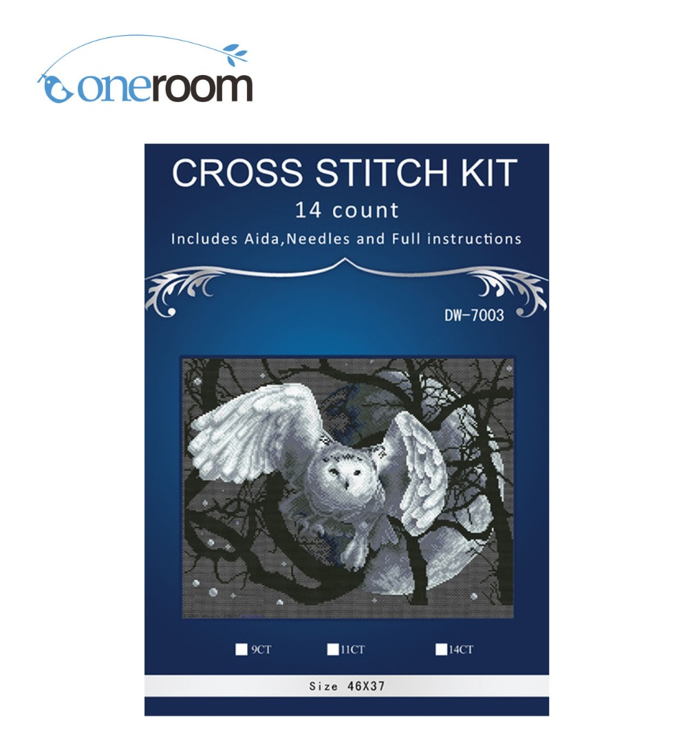 The White Owl  Home Decor Counted14ct White Canvas Similar DMC Cross Stitch Kits14ct Needlework Set DIY Embroidery
