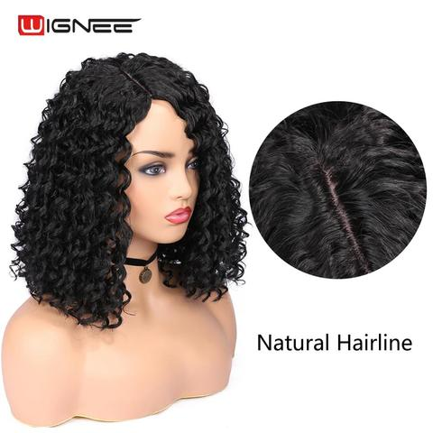 Wignee Natural Black Hair Kinky Curly Synthetic Wig For Women High Density Heat Resistant None Lace Side Part Female African Wig Lahore