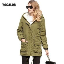 Winter Autumn Female Warm Hooded Jacket Parkas For Women Coats Quilt Green Military Parka Coat With Fur Hood Outerwear Sashes