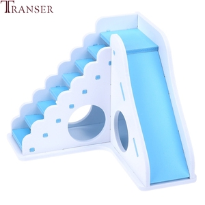 Image 2 - Transer Small Pet Hamster Toys Entertainment Sport House Hamster Wooden Toy Ladder Slide Small Animals Supply 90610