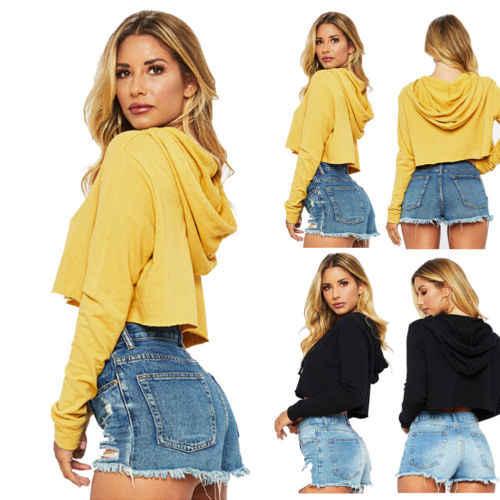 86972b0cb13980 ... Women Sweatshirt 2018 Hot Honey Letter Print Crop Hoodie Long Sleeve  Jumper Hooded Pullover Coat Casual ...