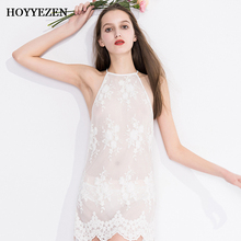 Hoyyezen new sleepwaer sexy transparent embroidered hanging neck openwork lace nightdress + panties suit