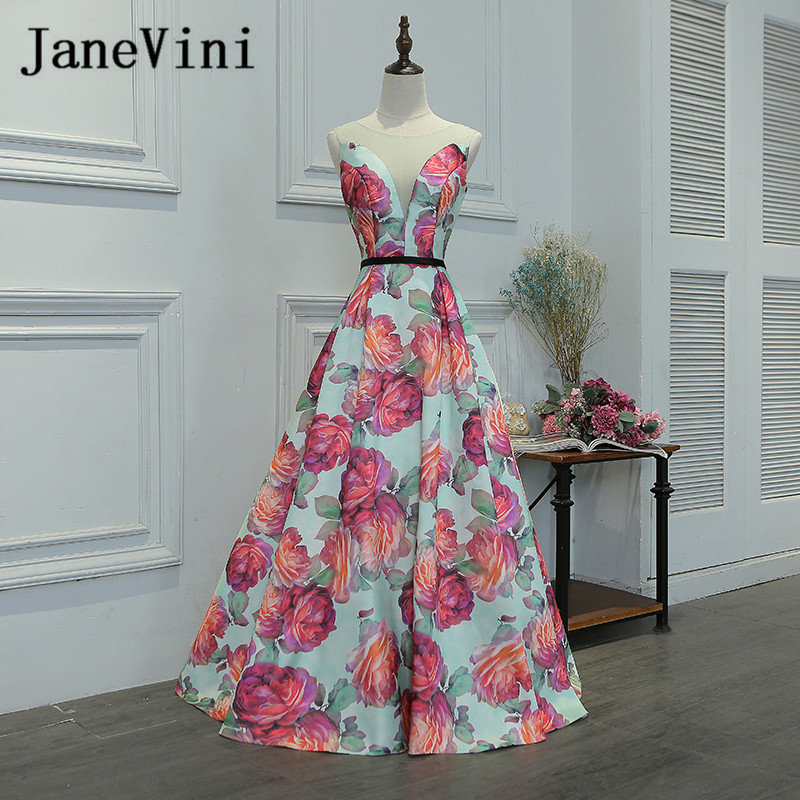 JaneVini Floral Print Sheer Neck Wedding Party   Dress   Spring Flowers Pattern Empire Waist Girls Long   Bridesmaid     Dresses   2018