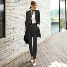 2018 Elegant Office suits Women's Suit+dress Office lady 2 Piece Sets With a Chic Belf Ladies OL Formal Work Wear Business suit