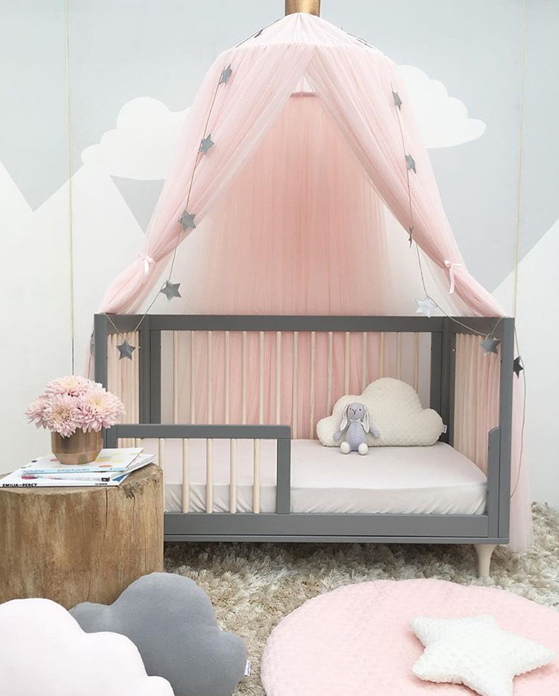 coxeer Kid Bedding Mosquito Net Romantic Round Bed Mosquito Net Bed Cover Pink Hung Dome Bed Canopy For Kids Bedroom Nursery