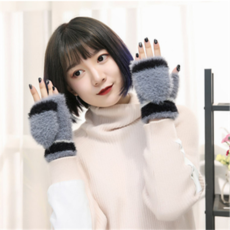 Winter warm knit men/women touch screen gloves imitation velvet dew half finger flip student points finger mitt gloves B40