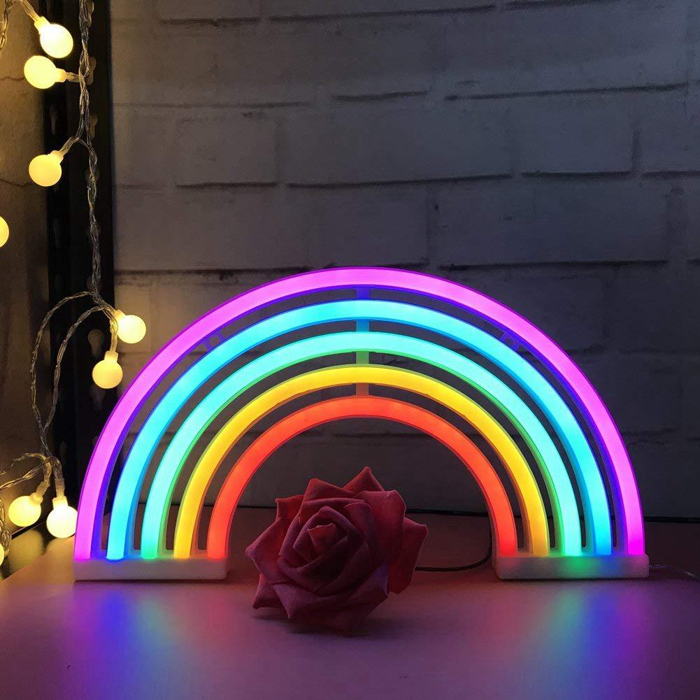 New Cute Rainbow Neon Sign LED Rainbow Light Lamp for Dorm ...
