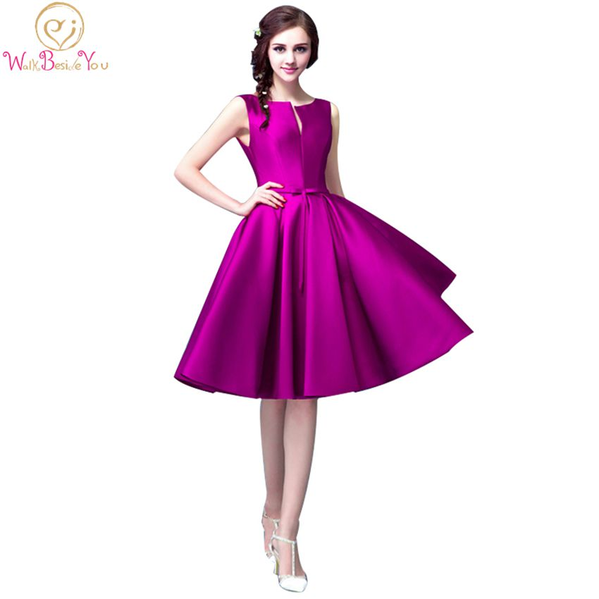 100 Real Images Cheap Graduation Dress Fuchsia Prom Gown with Bow Knee Length A line Satin