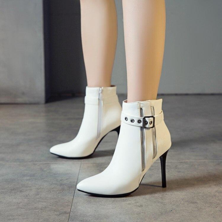 Grande taille 9 10 11-19 bottes femmes chaussures bottines pour femmes dames bottes Double fermeture éclair fermoir en métal décoratif