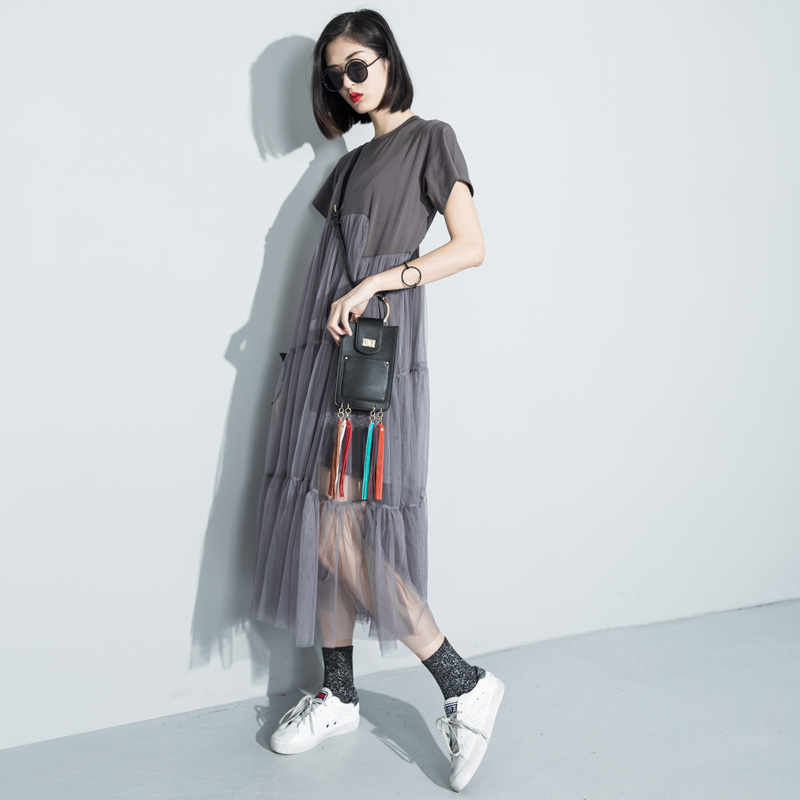 [soonyour] 2016 summer style fashion Loose Splice Fake two straight Dress Female free shipping 3361