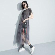 [Soonyour] 2016 лето стиль мода Свободные Сращивания Поддельные две прямые Платья Женские бесплатная доставка 3361