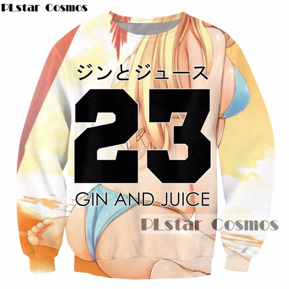 PLstar Cosmos Drop Shipping 2017 New Fashion 3d Sweatshirt Anime Sexy Girl Gin And Juice Print Sweatshirt Casual Tracksuits