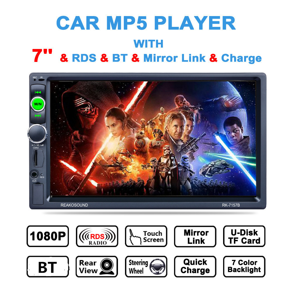 7 Inch 2 DIN Bluetooth In Dash HD Touch Screen Car Video Stereo Player AM/RDS Radio Support Mirror Link/Aux In/Rear View Camera