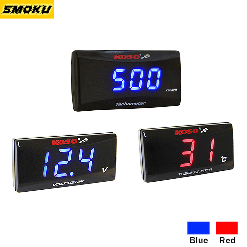 Koso Super Slim Serie Thermometer/Mini-3/Voltmeter/Tachometer Kit Digital Display Instrument Meter