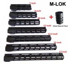 """AR15 M LOK Mlok 7 """"9"""" 10 """"12"""" 13.5 """"15"""" 17 """"19"""" mince M LOK à flotteur libre"""