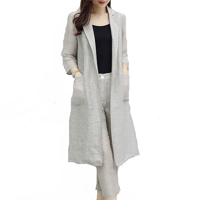 2018 Cotton Linen Summer Autumn Suit Female 2 Pieces Set For Women Loose Turn-down Collar Blazer &  Long Pant Suits High Quality