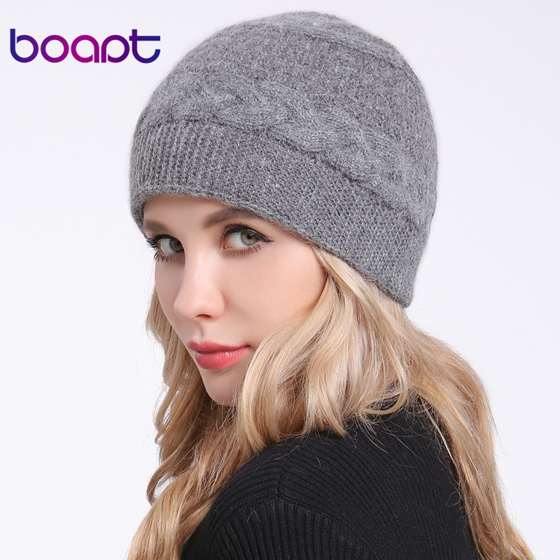 [boapt] Twisted Braids Knitted Angora Rabbit Double layer Bonnet Caps Female Winter Hats For Women's Hat Lady Skullies Beanies