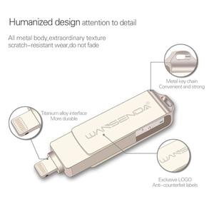 Image 3 - WANSENDA Metall USB Flash Drive 128GB OTG Pen Drive 32GB 64GB USB 3,0 Flash Disk für iPhone 12 Pro/12/11/XR USB Memory Stick