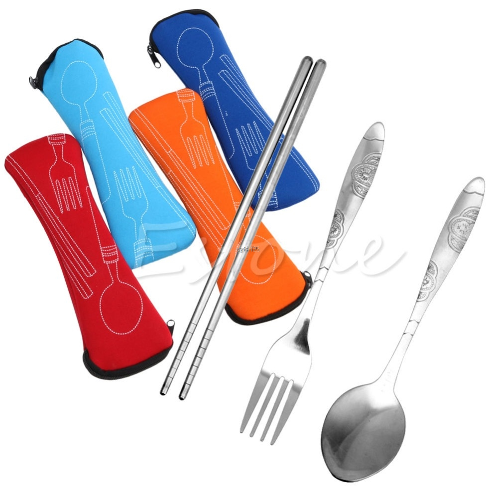 3Pcs Fork Stainless Steel Cutlery Set Zipped Bag Travel Picnic Mar