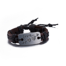 New Jewelry An arrow through the heart Alloy LOVE Leather Bracelet Women Casual Personality Vintage Punk Bracelet for Gift 2017