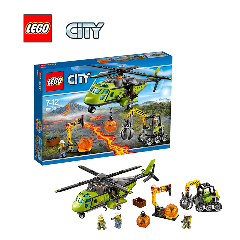 LEGO City Volcano Supply Helicopter Architecture Building Blocks Model Kit Plate Educational Toys For Children LEGC60123 356pcs city volcano supply helicopter 02004 police model building blocks assemble bricks children toys sets compatible with lego