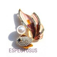 Элегантная булавка золотого цвета для женщин, мультяшный подарок, Золотая рыбка, имитация жемчуга, нагрудная булавка, аксессуары, ювелирное изделие, окрашенная Брошь со стразами