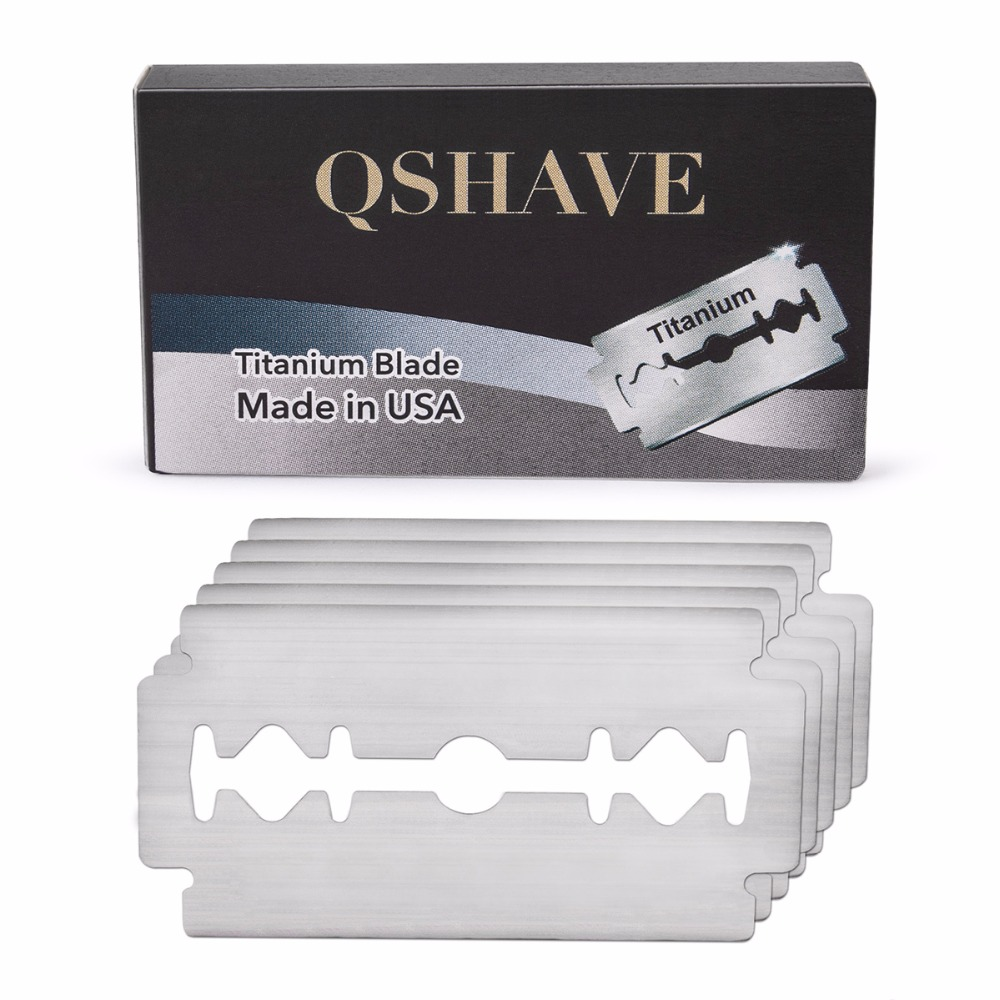 Qshave IT Double Edge Safety Razor Blade Classic Safety Razor Blade Straight Razor Titanium Blade Made in USA, 5 Blades 1