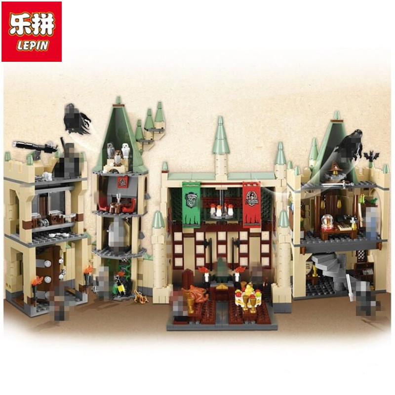 LEPIN 16030 1340Pcs Creative Movies Series The Hogwarts castle Set Model Building Block Children Toy Gift lepin 16030 1340pcs movie series hogwarts city model building blocks bricks toys for children pirate caribbean gift