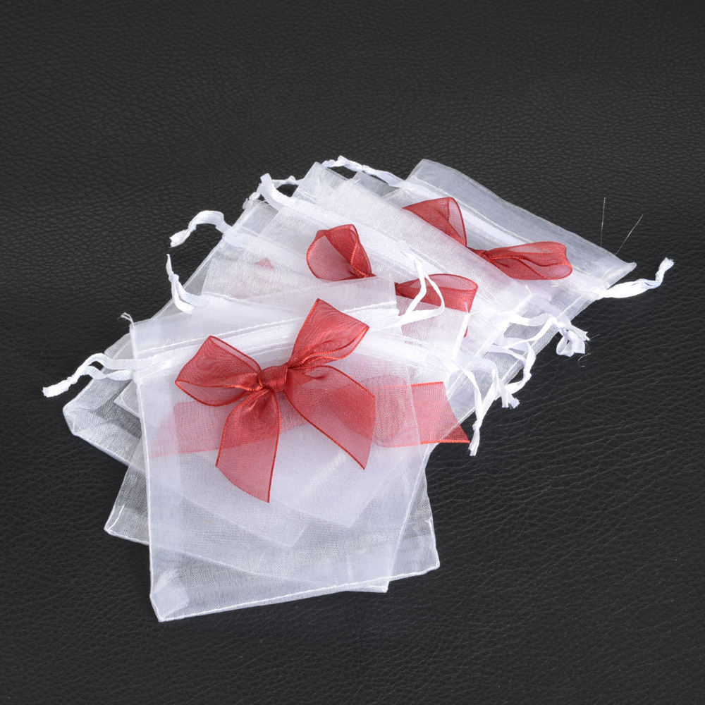 Wedding Gift Pouches: 50Pcs Organza Color Bow Drawstring Pouches Jewelry Gift