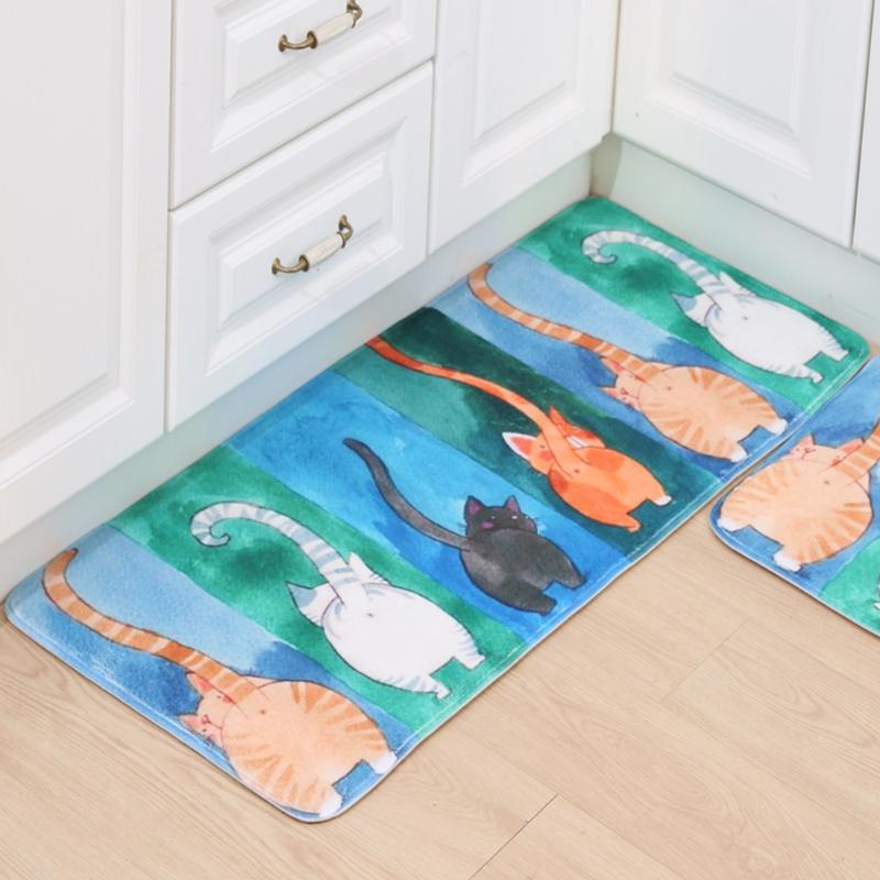 Watercolor Cat American Tableware Welcome Bird Anti-slip Bathroom Mat Table Pad Bibulous Anti-slipBedroom Kitchen Floor Mat