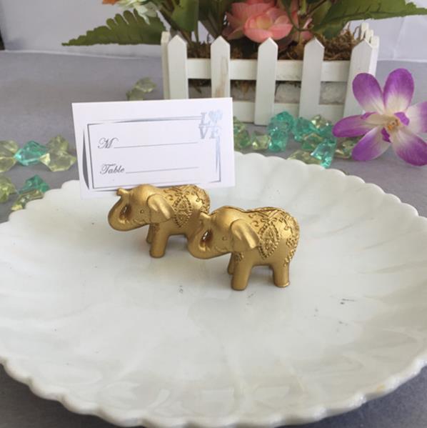 40 ks / lot Lucky Golden Elephant Place Card Držitelé Svatební dekorace na stůl Party Supplies upřednostňuje dárky pro Svatební sprcha