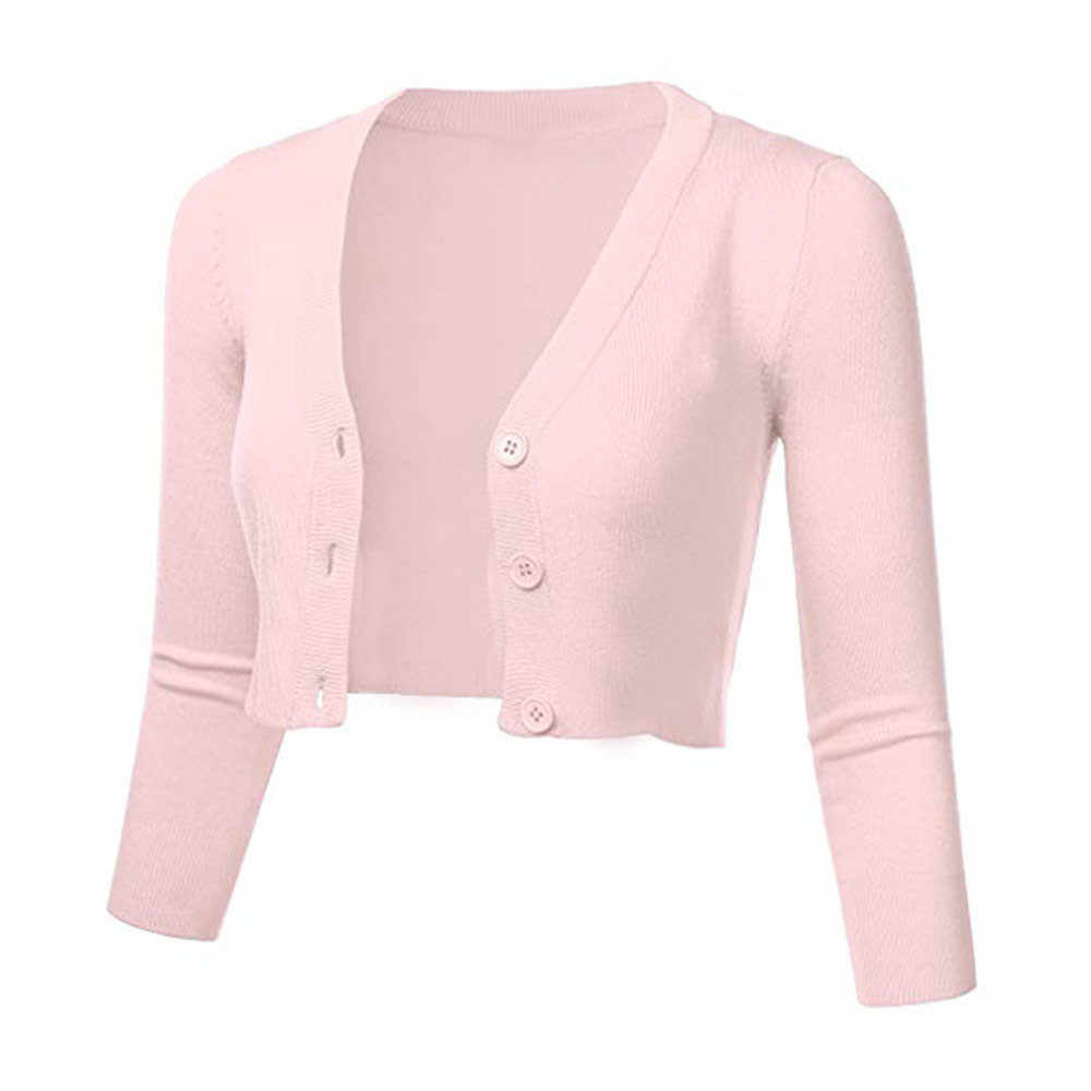 3/4 슬리브 자른 짧은 카디건 스웨터 여성 솔리드 캐주얼 버튼 긴 소매 코트 가을 겨울 니트 탑스 당겨 femme