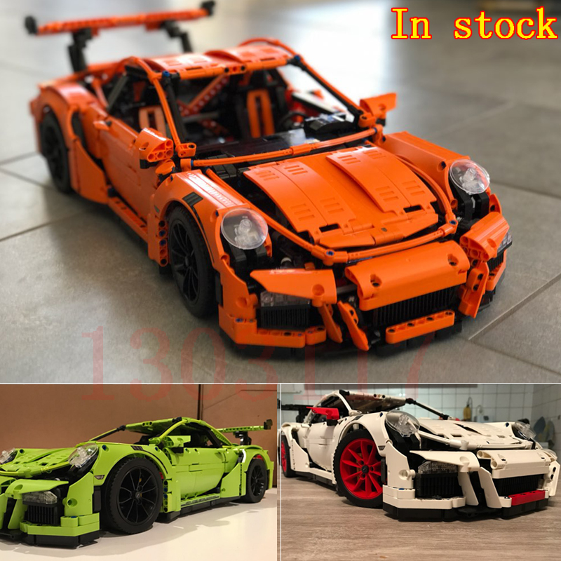 Free Shipping Decool 3368 LEPIN 20001 technic series 911 GT3 RS Model Building Kits Blocks Bricks Toys Compatible With 42056