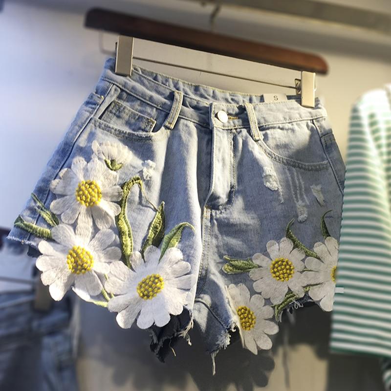 Nevettle Floral Embroidery Denim Shorts Women Summer Plus Size Wide Leg Jeans Short Pants