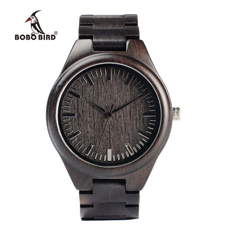 BOBO BIRD Natural Black Wooden MenS Watches Wood Strap Watch Quartz Analog Cool Luxury Gifts Wristwatch Male Relogio C-H05 bobo bird new luxury wooden watches men and women leather quartz wood wrist watch relogio masculino timepiece best gifts c p30