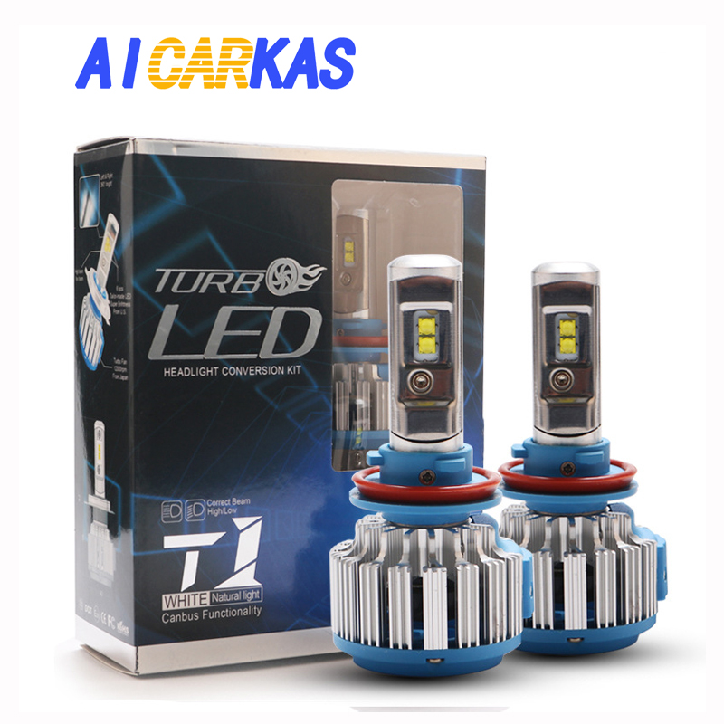 AICARKAS 2 PCS T1 Series 70W 7200LM 6000K H4 H1 H3 Turbo LED Car Headlight H7 H11 880/881 9005 HB3 9006 HB4 9007 HB5 Light Bulb aicarkas 2 pcs 36w 4000lm 6000k h4 h1 h3 turbo led car headlight h7 h8 h9 h11 880 881 9005 hb3 9006 hb4 9007 led fog light bulb
