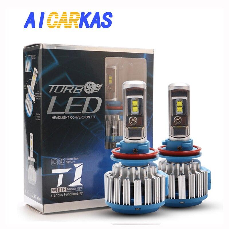 AICARKAS 2 pcs T1 Série 70 w 7200LM 6000 k H4 H1 H3 Turbo LED Phare De Voiture H7 H11 880/881 9005 HB3 9006 HB4 9007 HB5 Lumière Ampoule