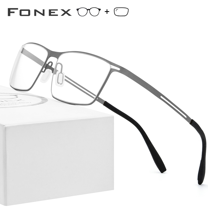 B Titanium Prescription Glasses Frame Men Semi Rimless Eyeglasses 2019 Ultralight Myopia Optical Frames Screwless Eyewear