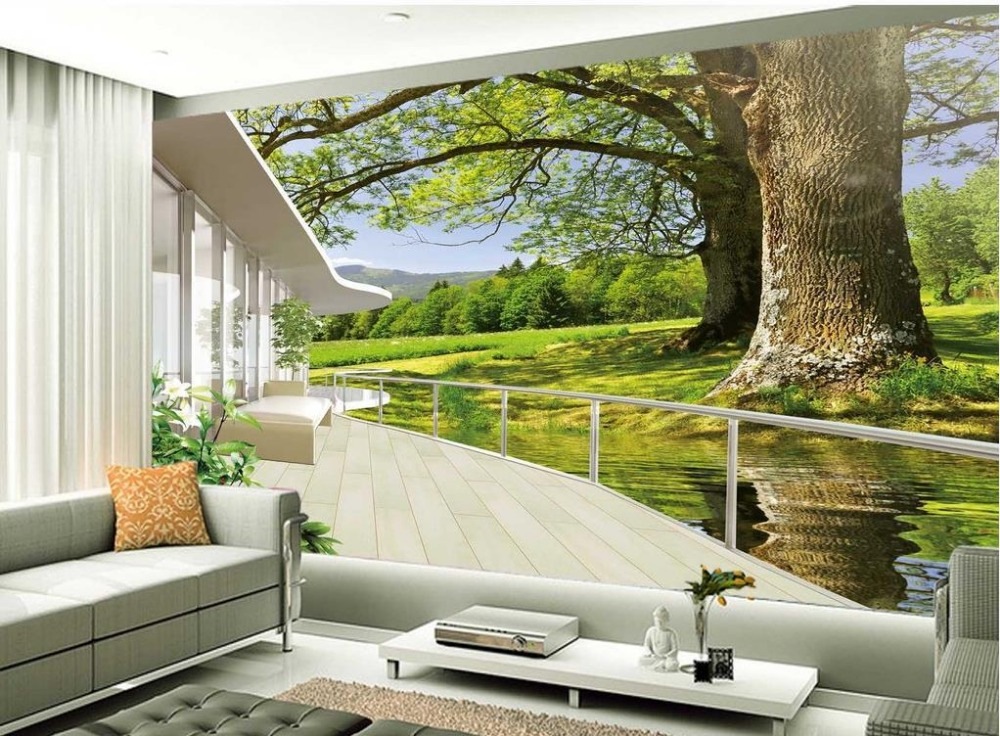 Tv Backdrop Of Nature Landscape Balcony 3d Room Wallpaper