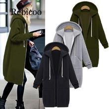 Rebicoo Women Jacket Long Coat Autumn 2019 Casual Plus Size Winter Hooded Female Sweater Ladies Cardigan