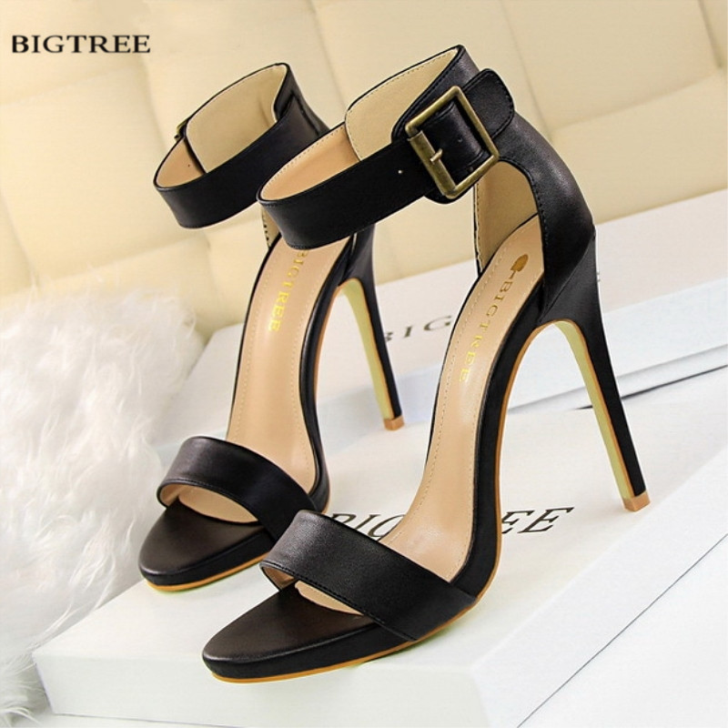 Summer Women High Heels Sandals Buckle Sexy Thin Heeled Ladies Sandal Ankle Strap Leather High-heeled Shoes G1408-2 креманка для десертов 100г ложка 13 см 1168246