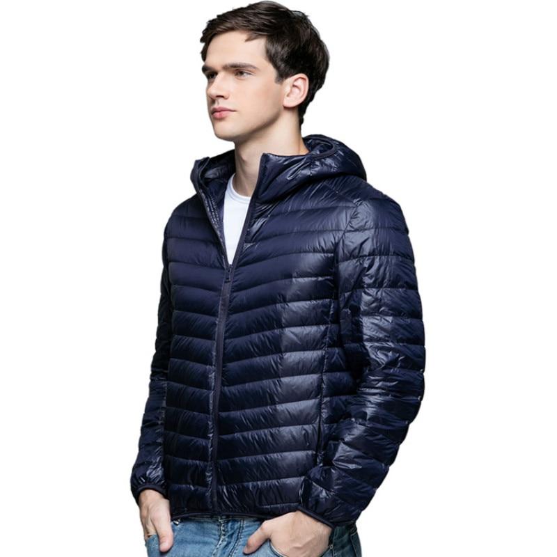 90% White Duck   Down   Jacket Men Ultrailight Thin Top Male Winter Puffer Hat Ultra Light Men's   Down     Coat   Hood Windbreaker Male