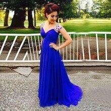 Lange Elegante Royal Blue Brautkleider Crystals Reich Schwangere Frauen Kleider Chiffon Abendkleid vestidos de renda