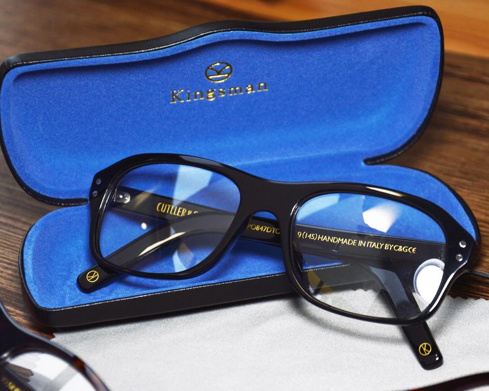 Kinsman2 The Golend Circle Clear Lens Black Top Acetate Optical Glasses Eyewear Anti blue ray Sun