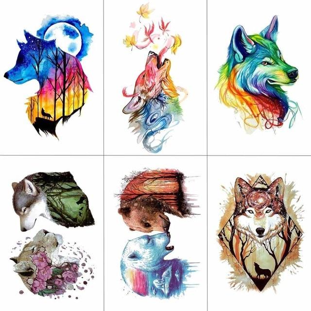 HXMAN Watercolor Wolf Tiger Temporary Tattoos Waterproof Women Fake Kids Children Hand Tattoos Men Body Art 9.8X6cm A-005